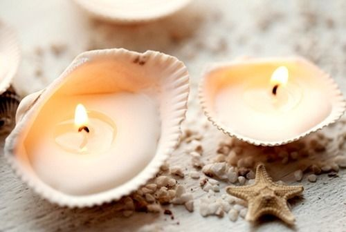 Homemade shell candles, now that's a fun arts & crafts project.