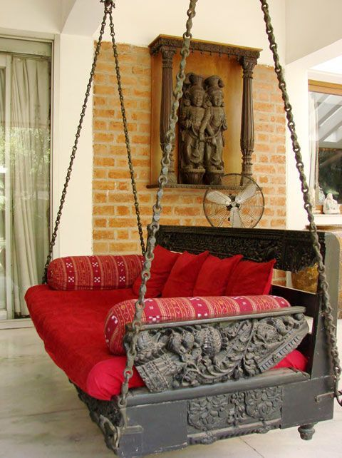 Private terrace of Umang Hutheesing with a garden swing seat photo
