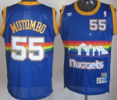 Denver Nuggets  55 Dikembe Mutombo Blue Rainbow Swingman Throwback Jersey abdbde331