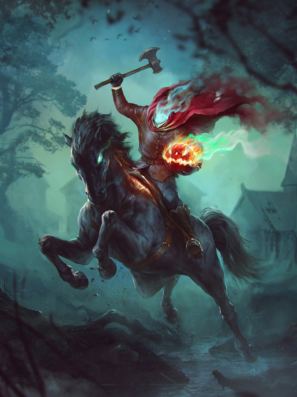 Halloween Scary Wallpaper Hd Backgrounds Headless Horseman Halloween Headless Horseman Halloween Painting