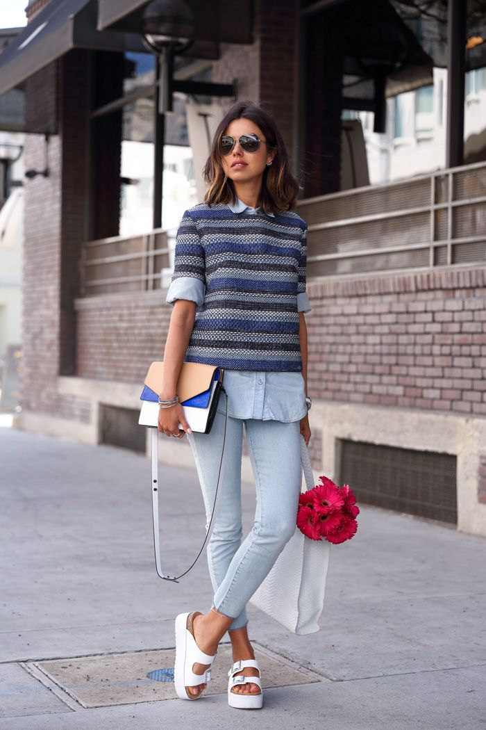 7fbc0d3f042e striped sweater with chambray shirt and cropped jeans with birkenstocks