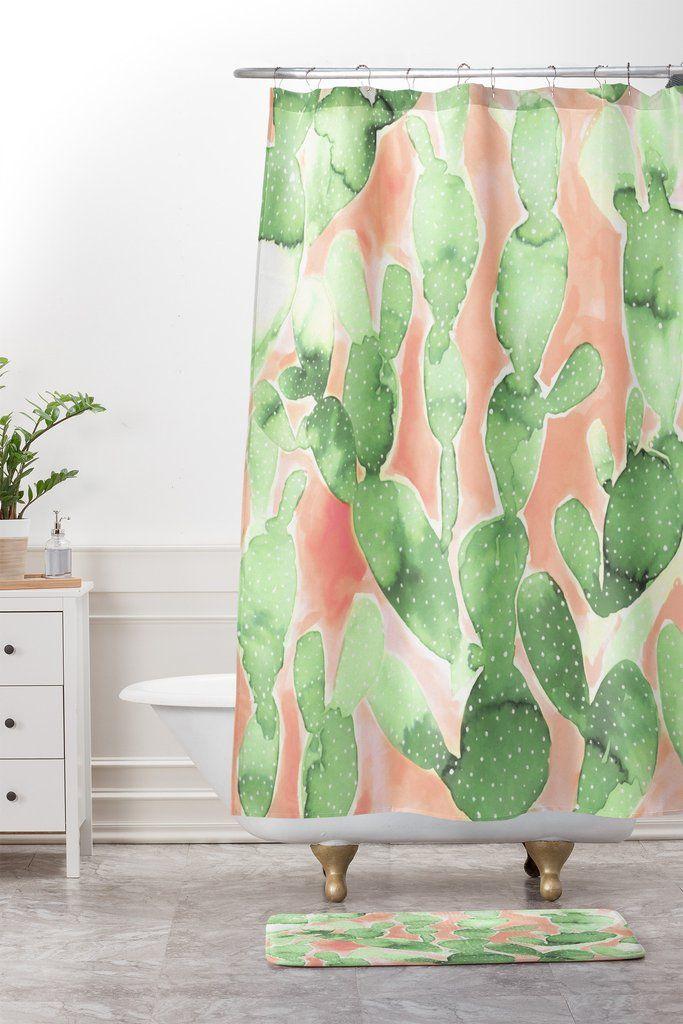 Jacqueline Maldonado Paddle Cactus Pale Green Shower Curtain And Mat ...