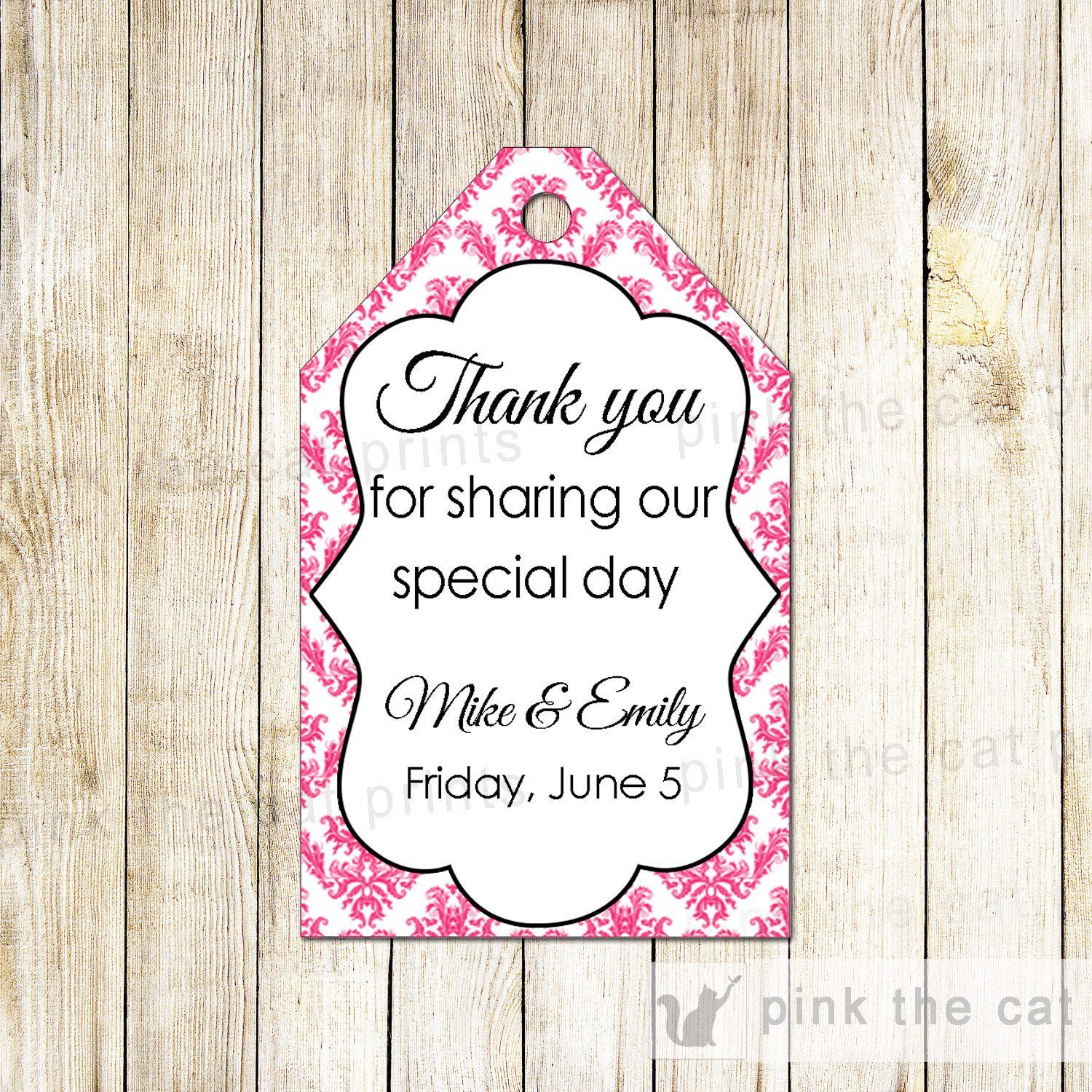 Damask Thank You Tags Gift Favor Tag Pink White Wedding Favor Labels ...
