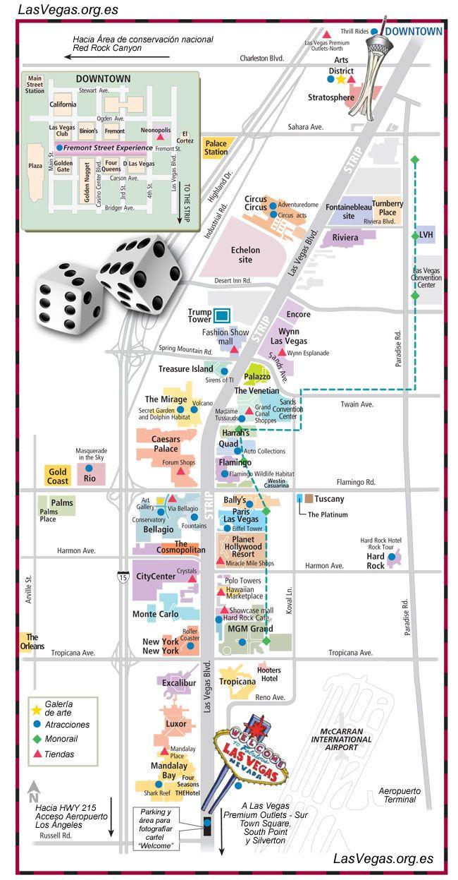 Mapa Del Strip De Las Vegas Las Vegas Mapa De Las Vegas Vacaciones En Las Vegas
