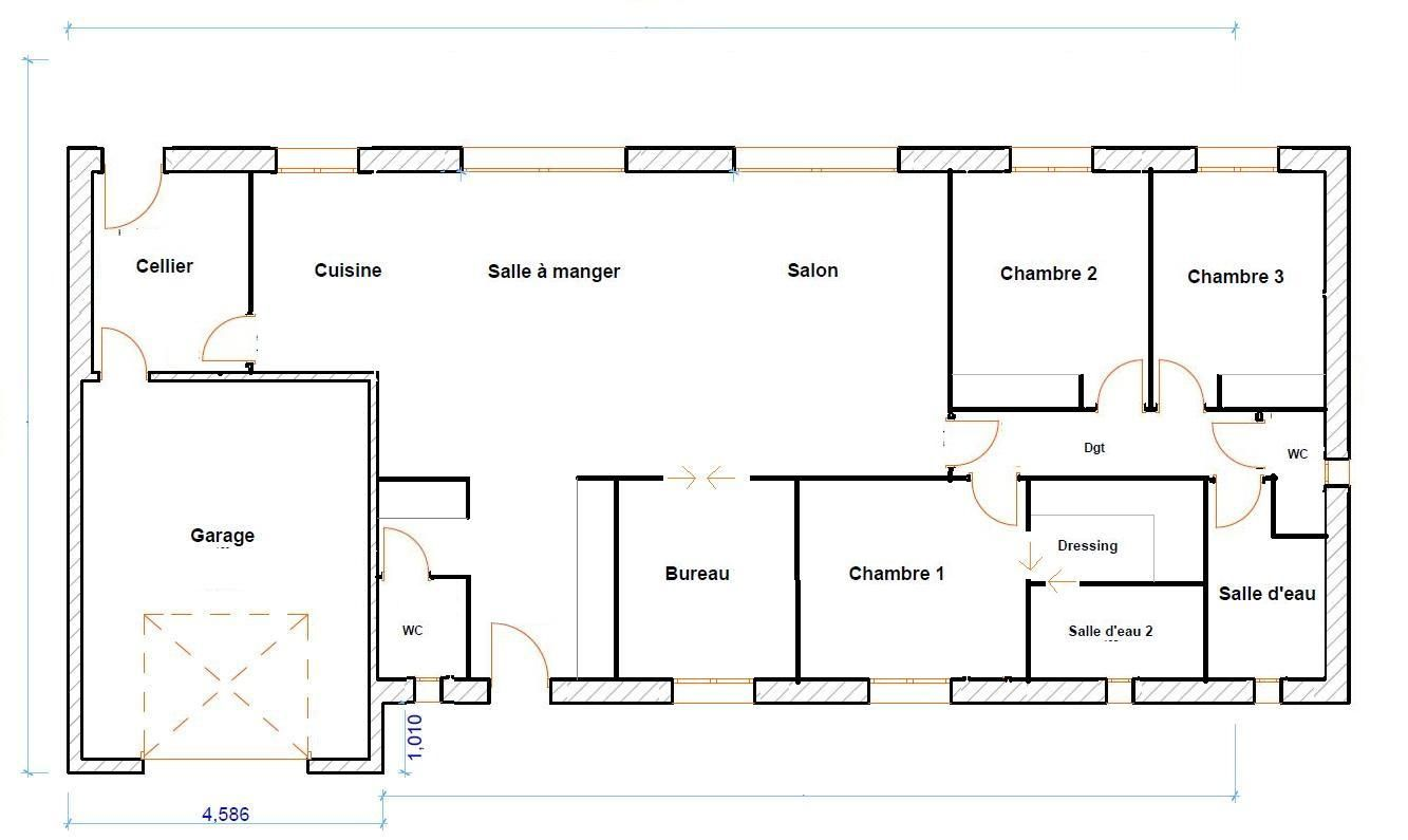 Plan maison 120m2 plain pied chambre pinterest construction and house