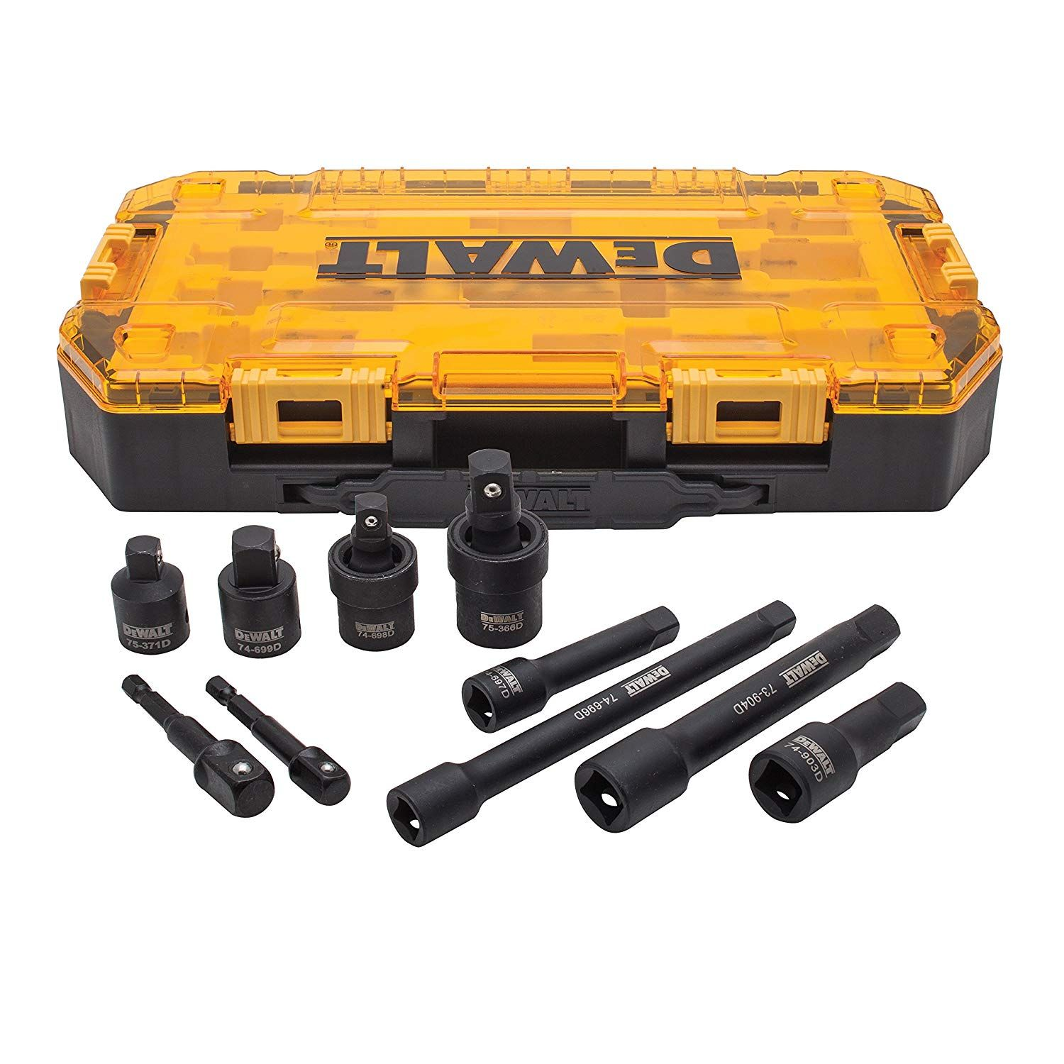 Dewalt Impact Driver Socket Adapter Set 10 Piece 3 8 1 2 Drive Metric Dwmt74741 In 2020 Dewalt Impact Sockets Socket Set