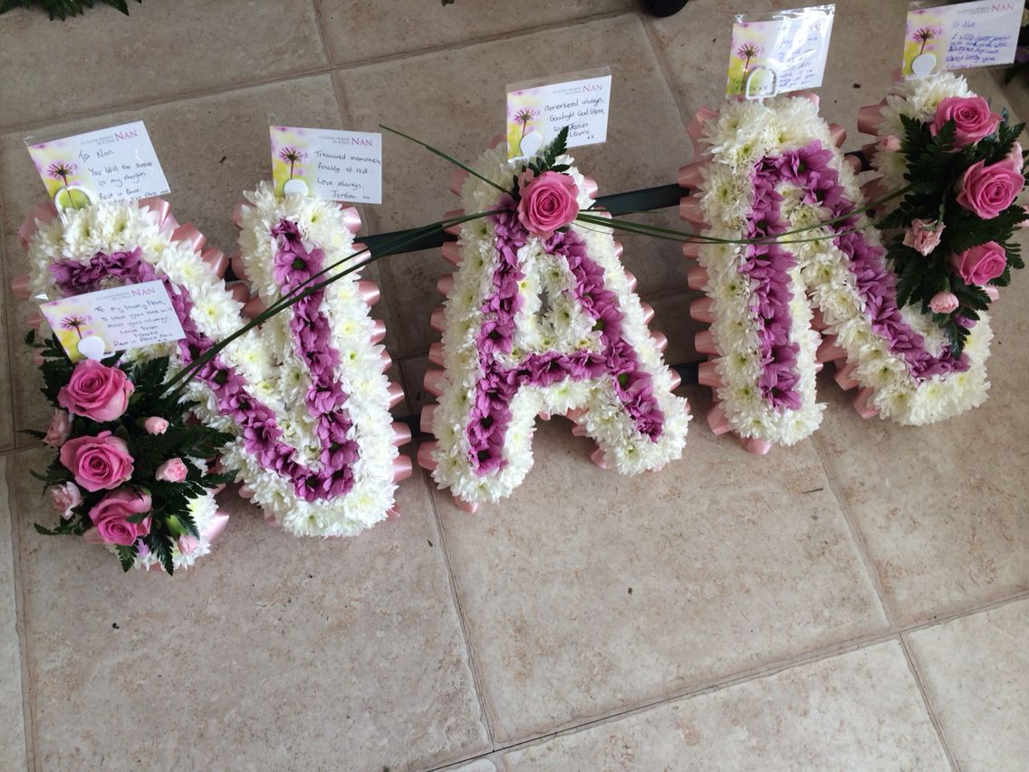 Nan Letter Tribute Funeral Flowers By Lily White Florist Sutton