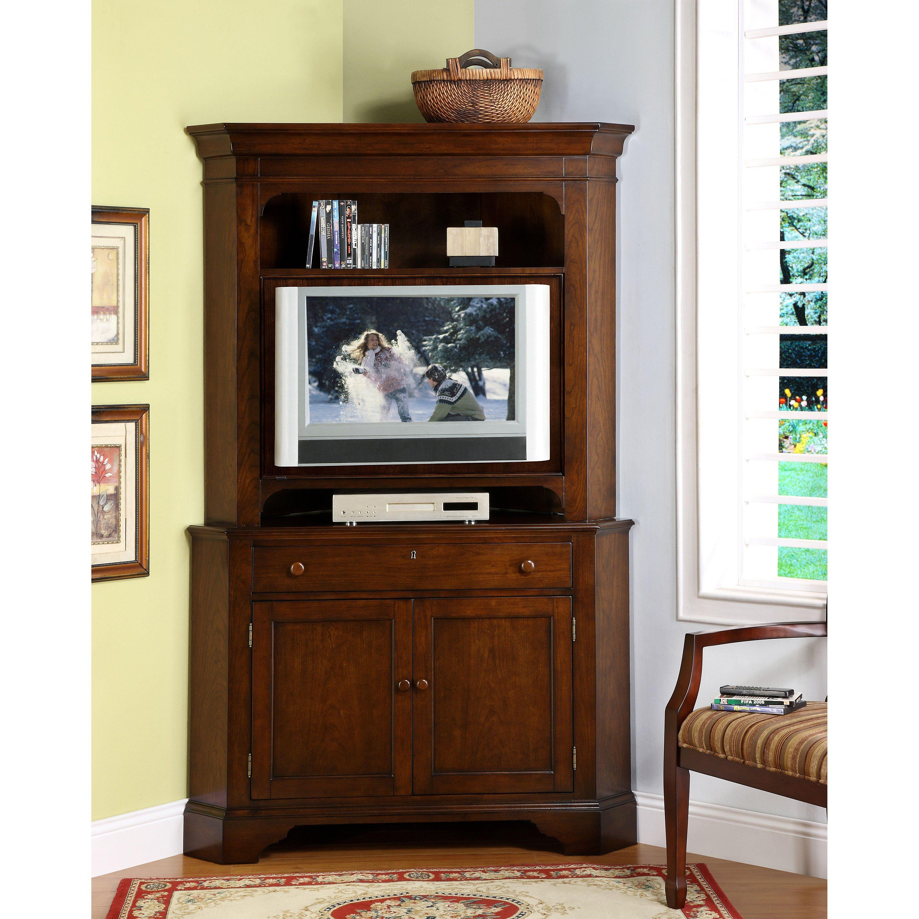 Cheap legends furniture cambridge fireplace media center in cherry - Corner Tv Cabinet With Optional Hutch Cherry Put Your Programs On A Pedestal With The Riverside Crossroads 45 In Corner Tv Cabinet With Optional Hutch
