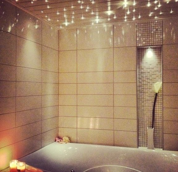 Put lights above the bath so you can turn off the real lights and ...
