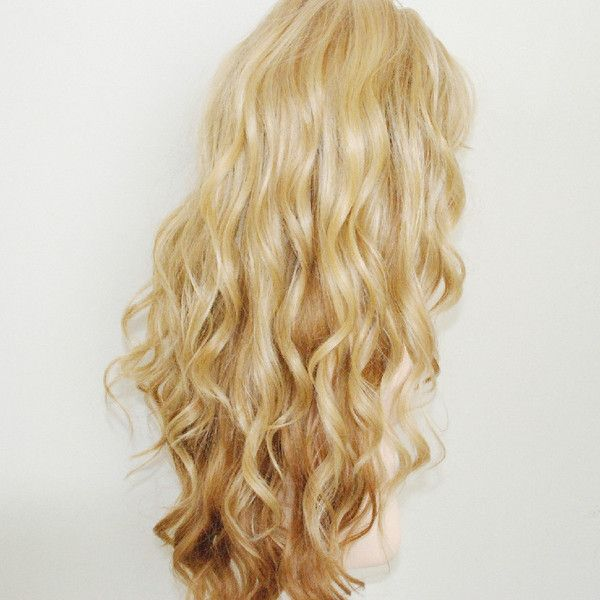 Light ash blonde ombre mix with light blonde / long loose deep wave... ($80) ❤ liked on Polyvore #lightashblonde