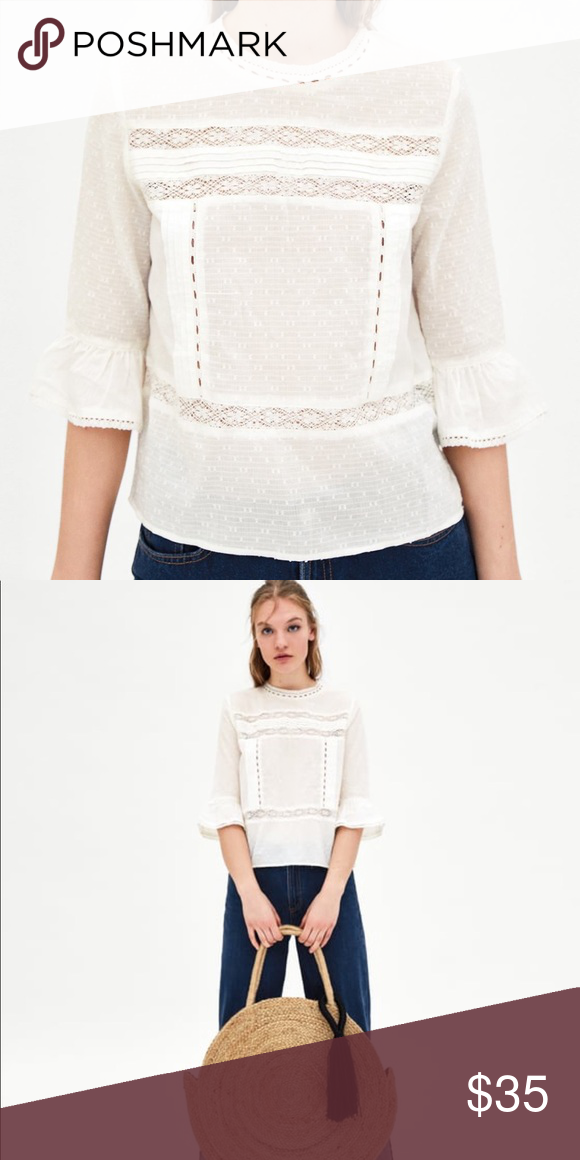 aaf78c50 Zara romantic lace top Round neck top with lace trims and ruffled sleeves.  Features button fastening in the back and embroidered details.