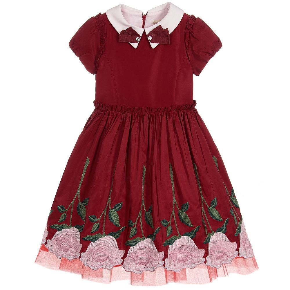 56f8c4d26 Girls Red Taffeta Dress for Girl by Monnalisa Chic. Discover more ...