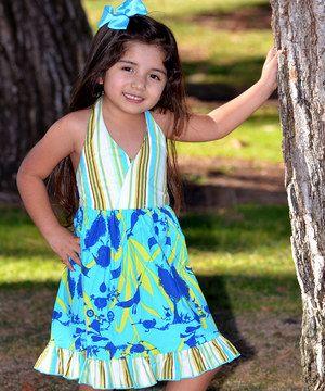 Teal Stripe Birds Halter Dress - Toddler & Girls by Beary Basics #zulily #zulilyfinds