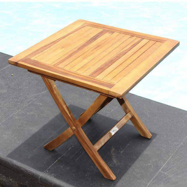 Table basse carr e pliante en teck huil gardenandco - Tables basses carrees ...
