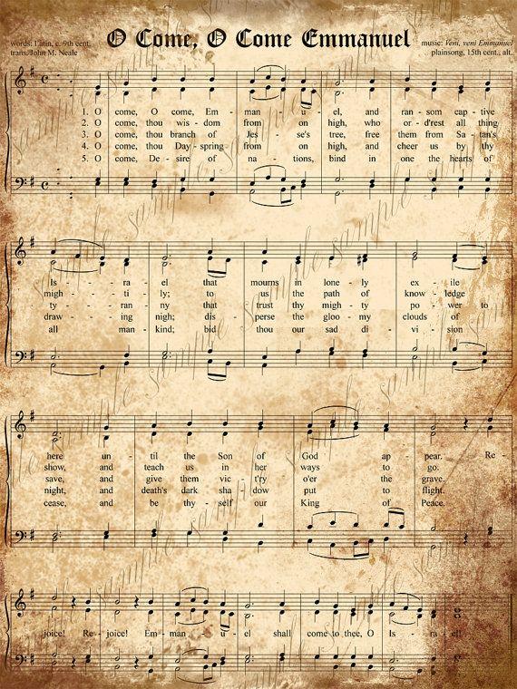 Vintage Sheet Music Sign Pink Church O Come All Ye Faithful Christmas Wood Sign