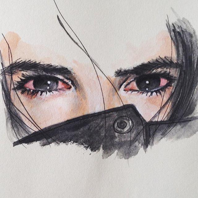 smoke high eyes watercolor painting 420 stoned drawing