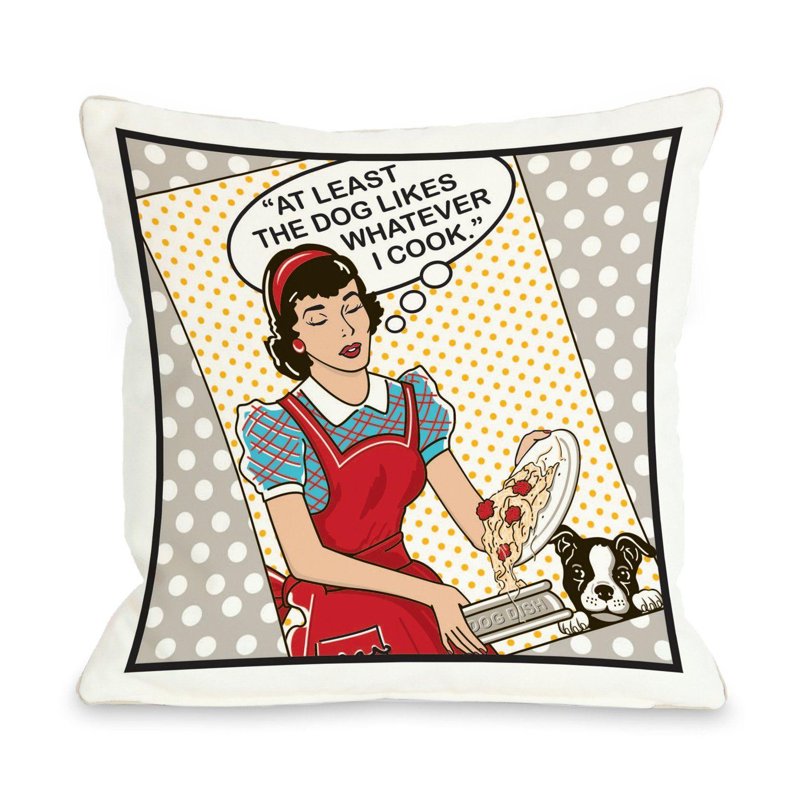 Dog Likes Food Throw Pillow.