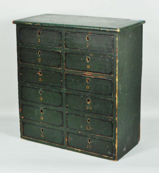 Best Small Green Painted 12 Drawer Apothecary Cabinet Lot 431 640 x 480