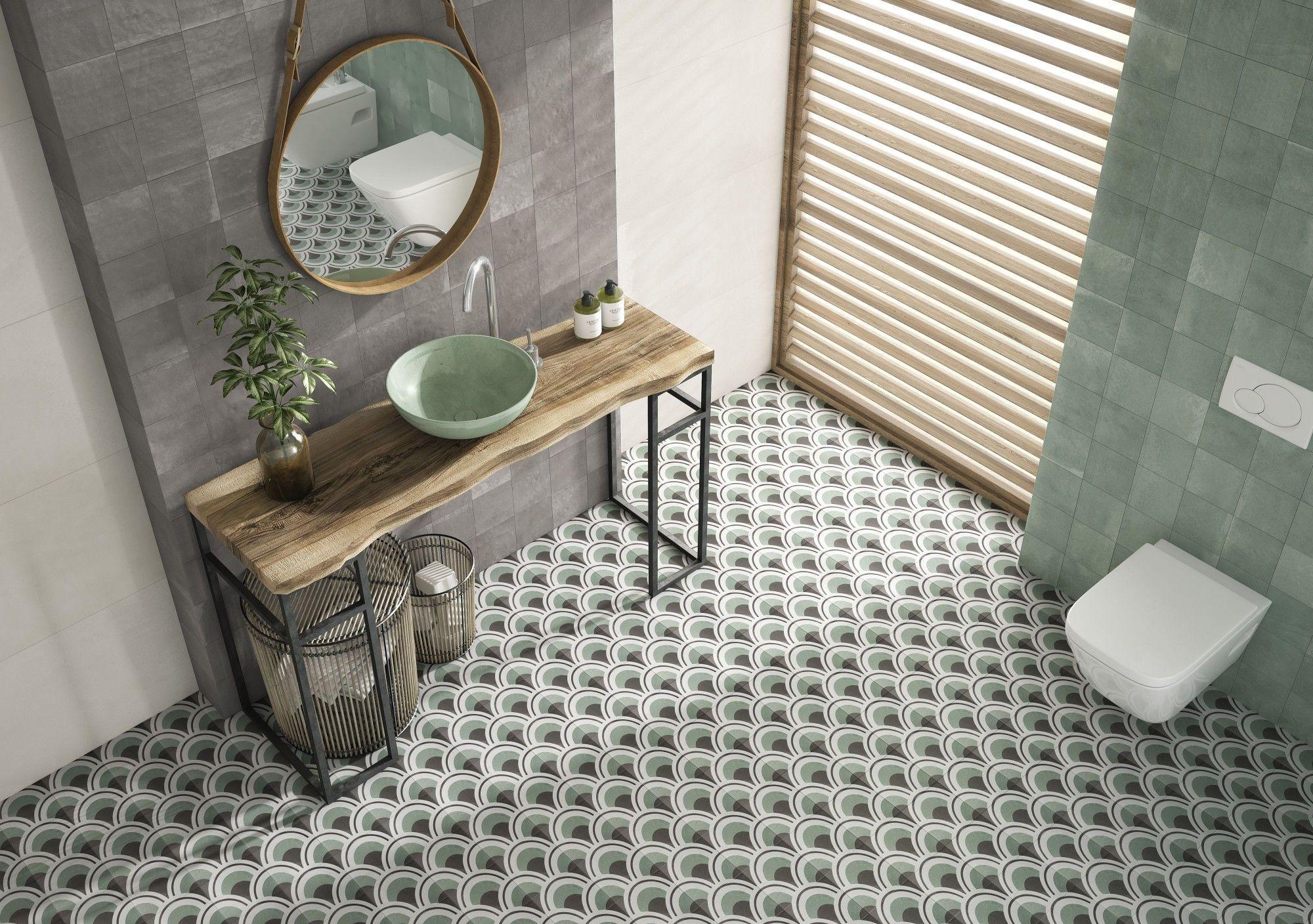 Art Deco Tile Green Bathroom Style In 2020 Green Tile Floor Flooring Bathroom Style