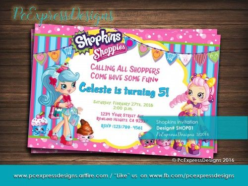 Shopkins Shoppies Invitation SHOP01 Shopkins Photo center and
