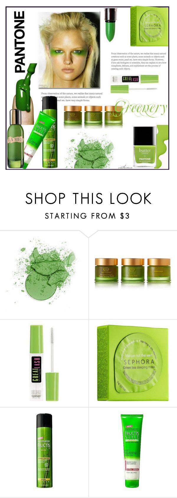 """""""Greenery Beauty"""" by arethaman ❤ liked on Polyvore featuring beauty, Tata Harper, Butter London, Maybelline, Sephora Collection, Garnier, NYX, La Mer, Beauty and greenery"""