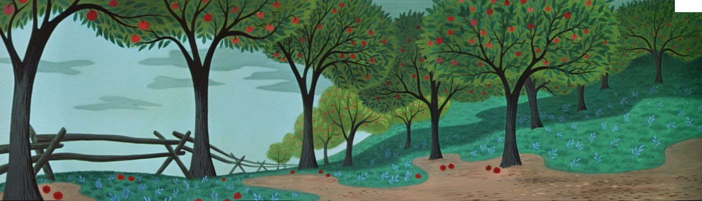 Disney S Melody Time 1948 Recreated Pan Backgrounds From Johnny Appleseed Style Design By Mary Blair Tree Art Cartoon Art Apple Art