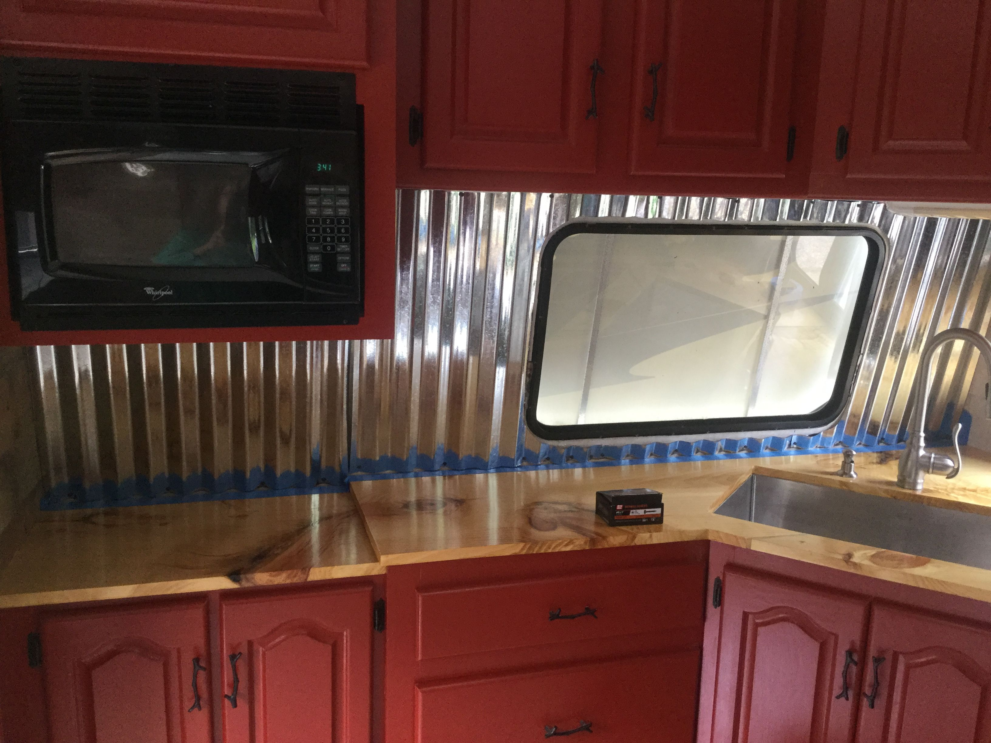 Corrugated Tin Roofing For The Back Splash Corrugated Tin Tin Roof Backsplash