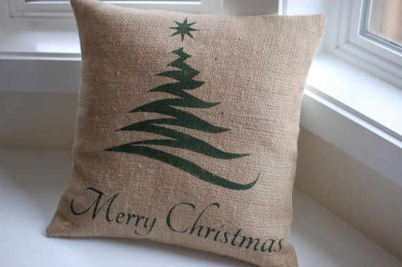Christmas Tree Pillow - Burlap pillow cover handpainted with Christmas tree and Merry Christmas - Pillow Insert sold separately