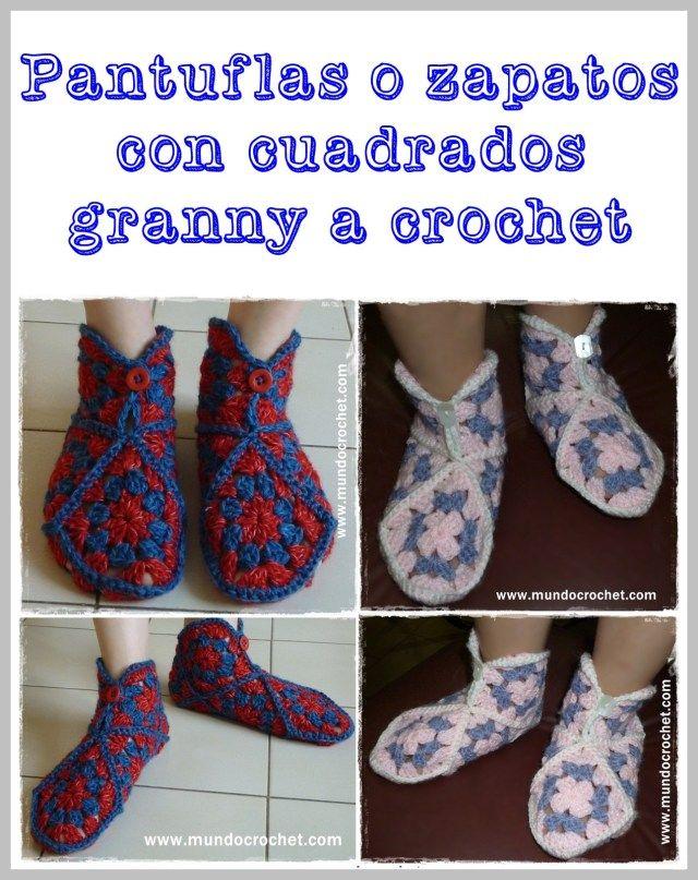 Pantuflas o zapatos a crochet o ganchillo de cuadrados granny con ...
