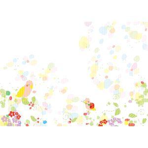 フリーイラスト ベクター画像 Ai 背景 小鳥 植物 花 パステル