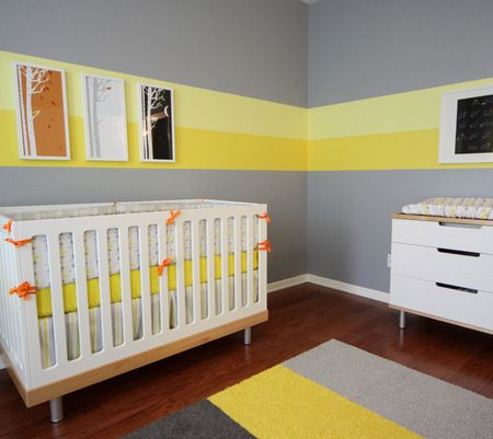 Two Toned Yellow Stripe In This Gray Nursery. Not The Colors I Would  Choose, But I Like The Stripe