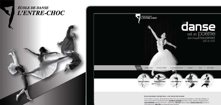 ProWeb est très fière de vous présenter sa toute dernière réalisation : un site Web pour l'école de danse L'Entre-Choc de Victoriaville. entre-choc.com/  venez visiter notre portfolio web : http://proweb.ca/portfolio-complet-site-web/ecole-de-danse-l-entre-choc#Portfolio-detail