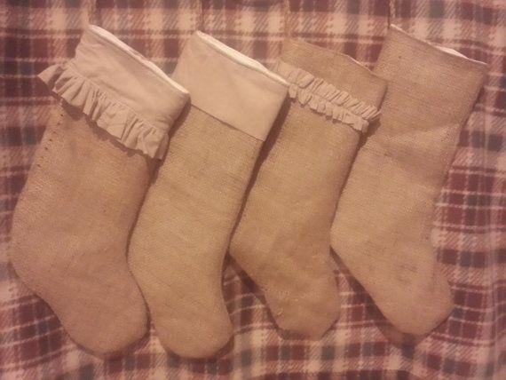 Burlap stockings Etsy listings at https://www.etsy.com/listing/197596382/upcycled-burlap-stockings-ready-to-ship