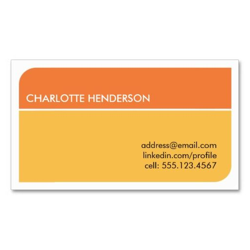 Sunny orange smart student employment resume card Business cards - employment resume