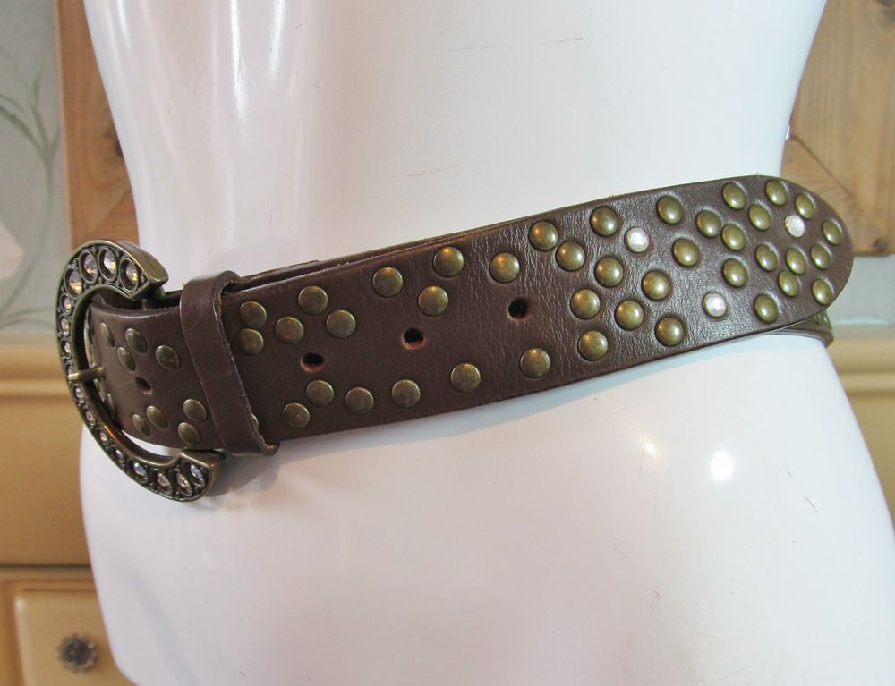 River Island brown studded diamante buckle leather belt R13425