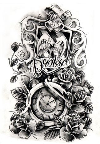 A Custom Design Made For A Dude The Endresult For His Design Is Gonna Be Different But I Like It Anyway S Clock Tattoo Design Clock Tattoo Clock Tattoo Sleeve