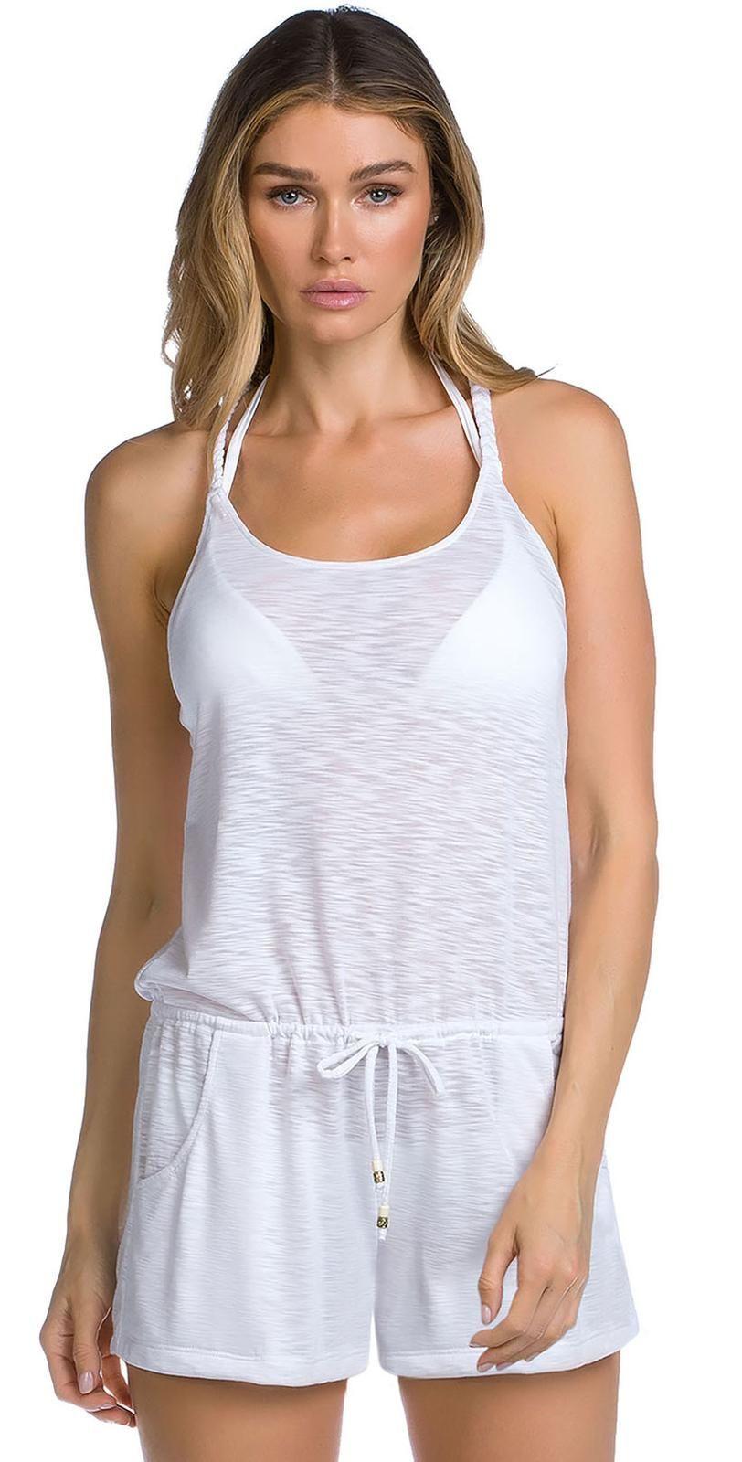 6e5a517562c2c Becca Breezy Basics High Neck Romper In White