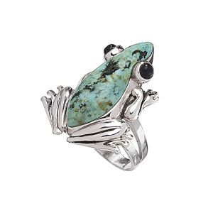 Jasper and Onyx Sterling Frog Ring.