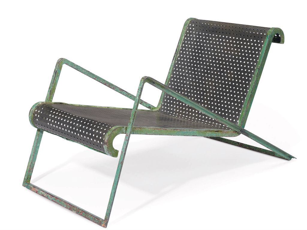 1937 A Perforated Tubular Metal Chaise Longue By Jean Royere