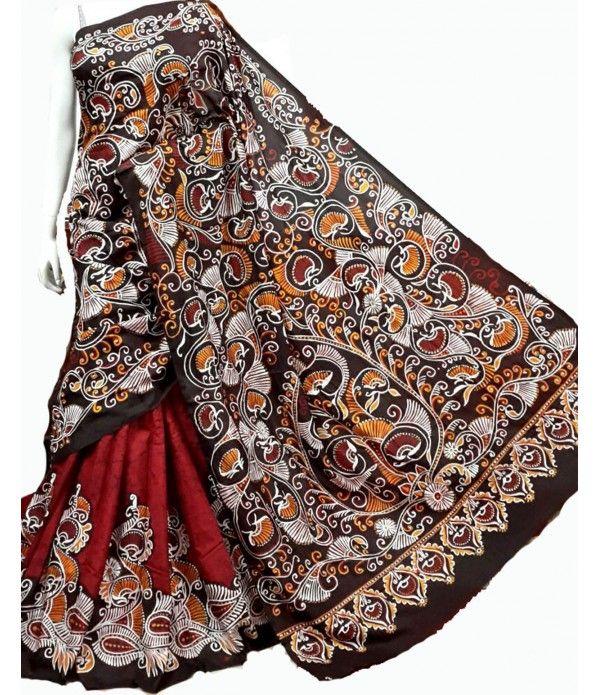 Maroon Hand Batik Pure Silk Saree