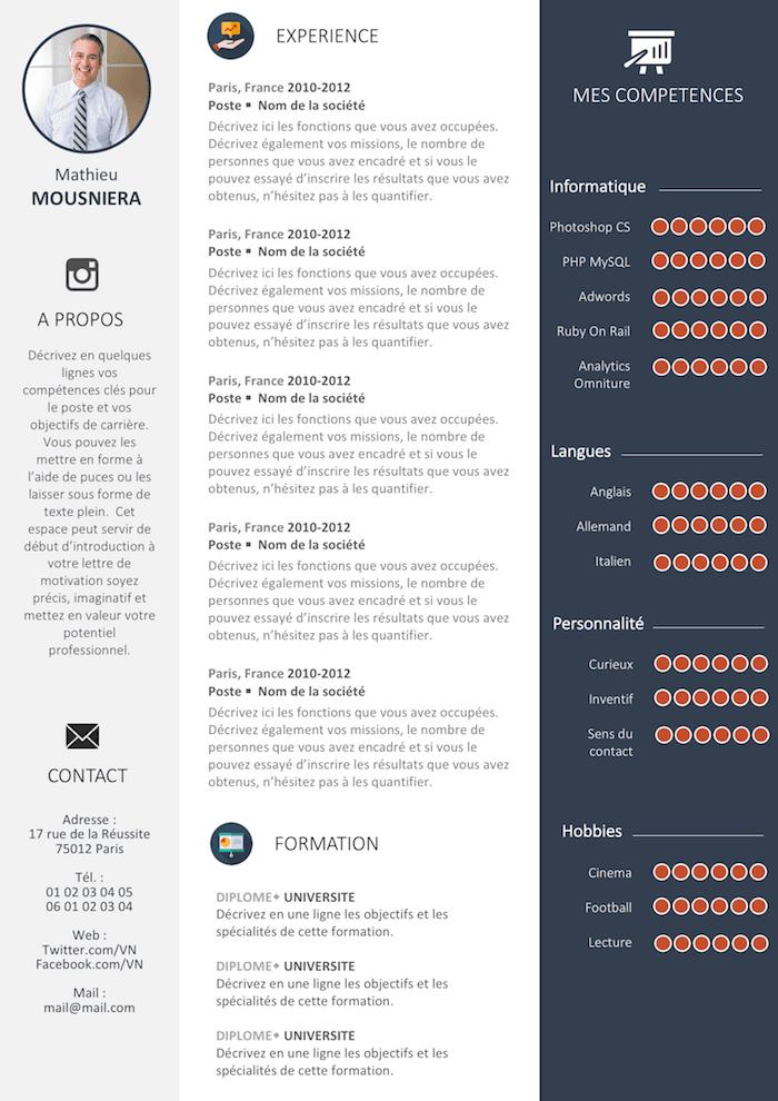 Exemple de CV Efficace gratuit à télécharger (avec images