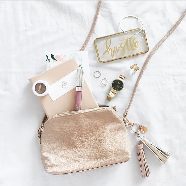 What's in your purse? planner, phone, watch, ring, accessories makeup, lipgloss,blush