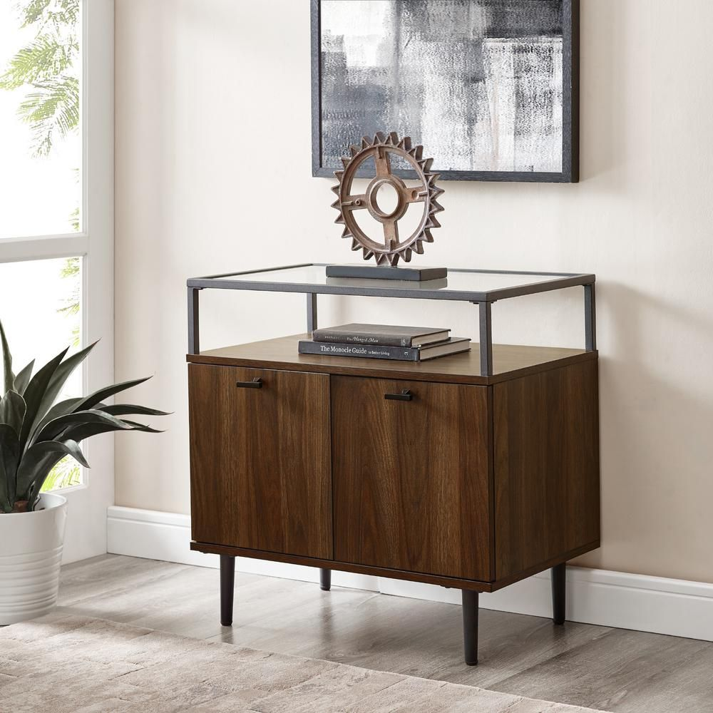 Best Modern Glass Top Dark Walnut 2 Door Nightstand Hd8179 400 x 300