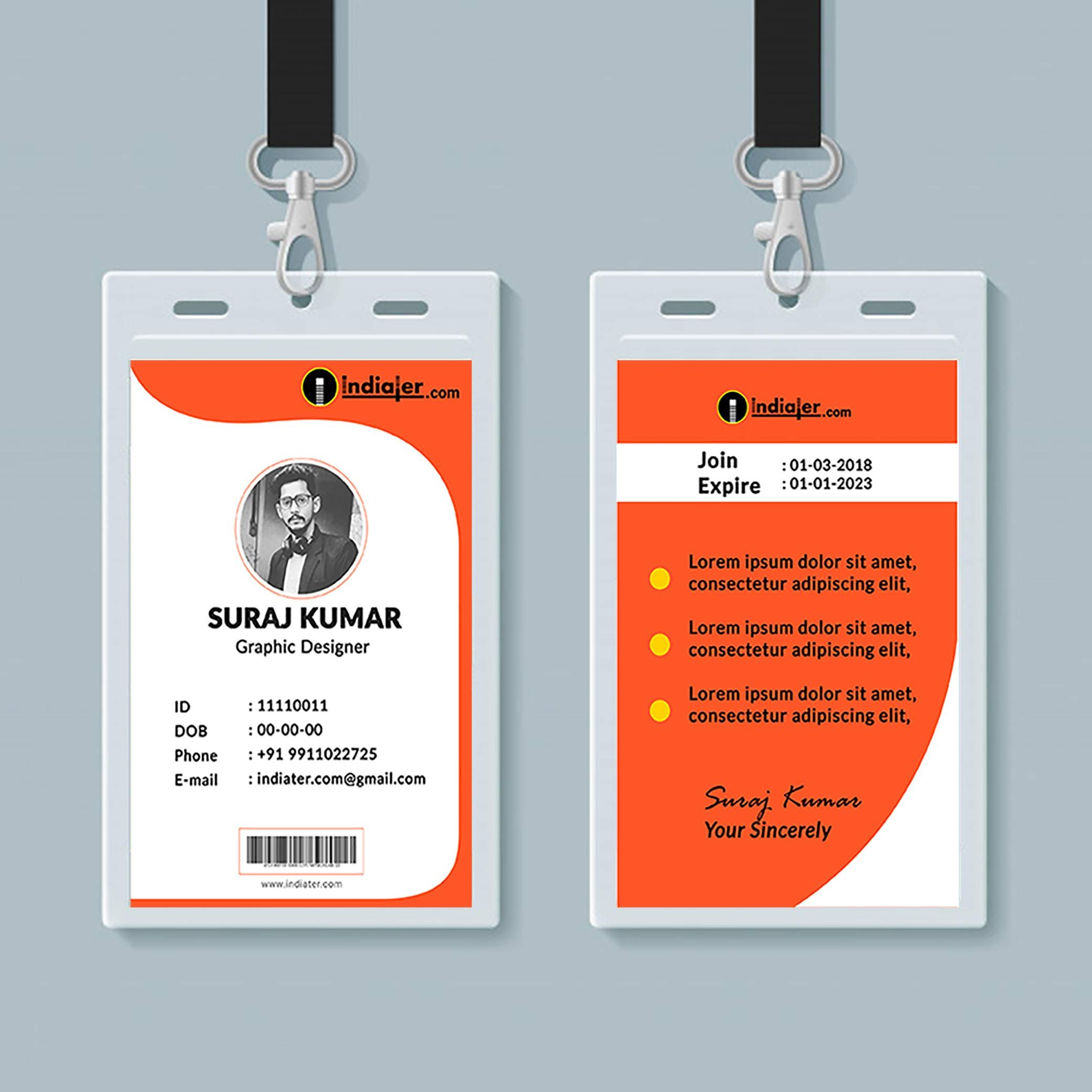 Multipurpose Corporate Office Id Card Free Psd Template For Template For Id Card Free Download Cumed Identity Card Design Id Card Template Psd Template Free