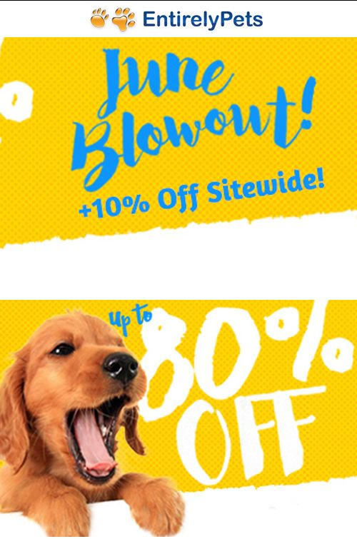 Entirely Pets is offering Up to 80 discount June Blow Out