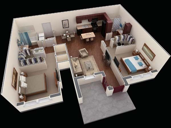 3D House Plans Smaller Than 1000 Sq Ft 2 Bedroom apartamentos - dessiner maison 3d gratuit