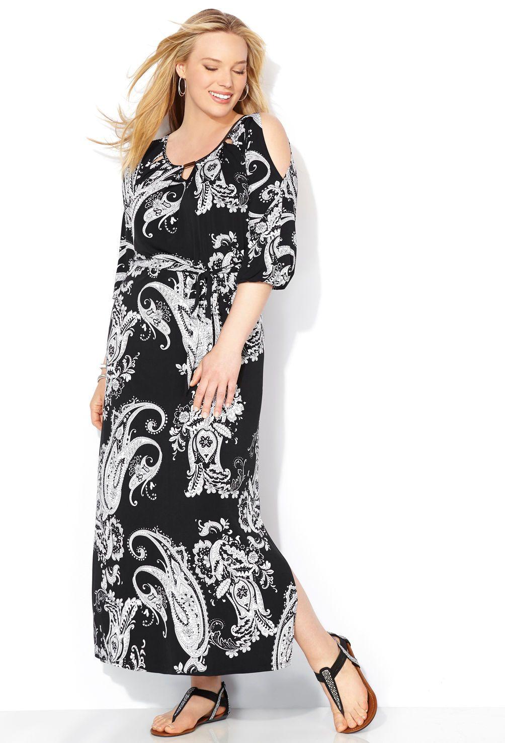 Paisley Cold Shoulder Maxi Dress-Plus Size Dress-Avenue ...