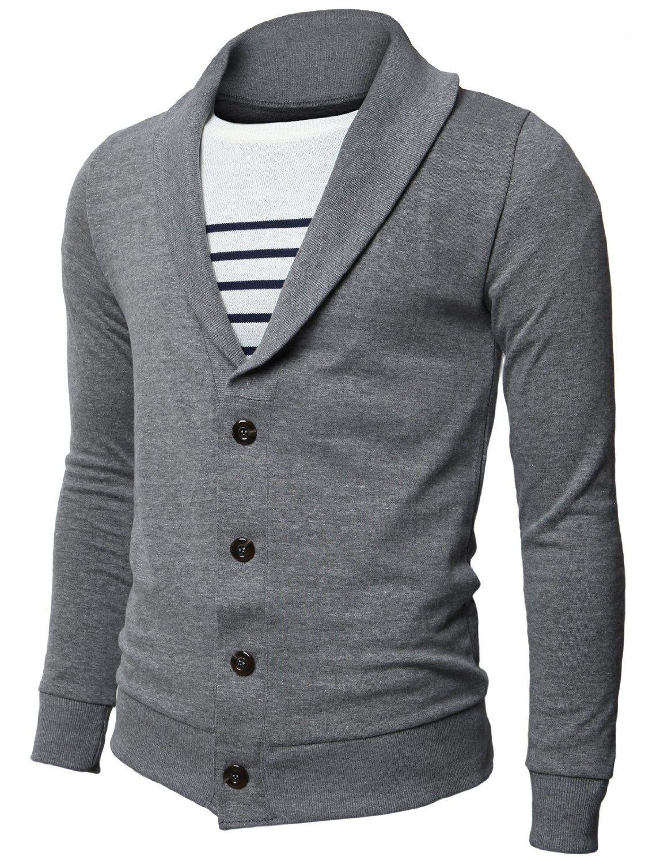 H2H Mens Basic Cardigan with Shawl Collar WINE Asia XL (JNSK15 ...
