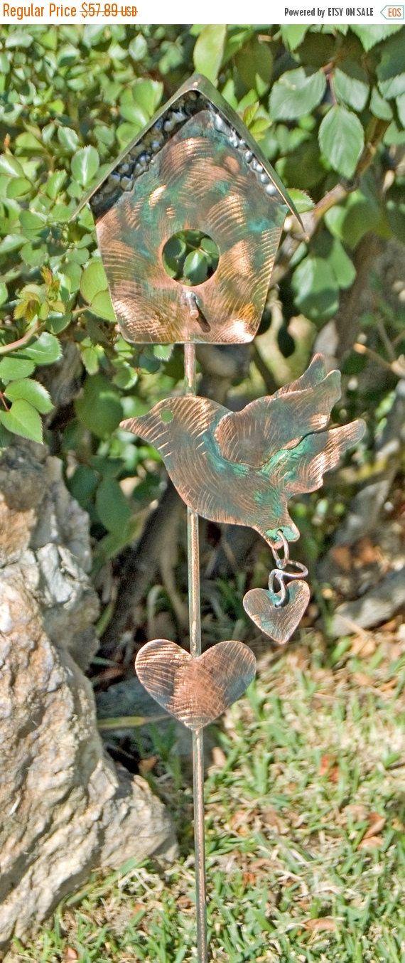 Bird House Garden Stake / Yard Art / Copper Art / Metal Garden Art / Bird  Art / Garden Sculpture / Birdhouse Ornament / Bird Lovers Gift