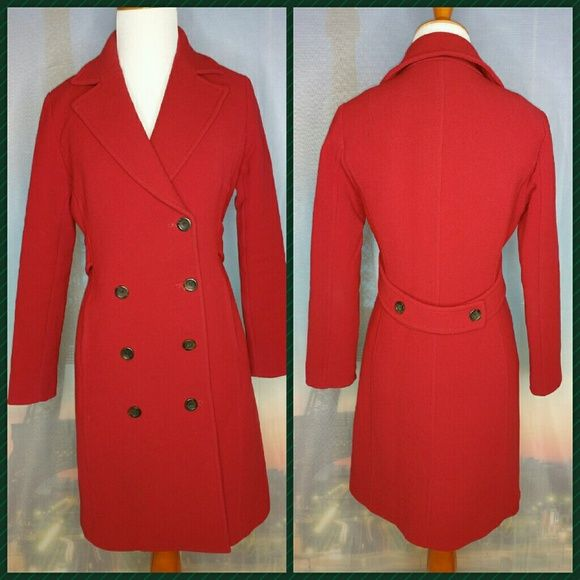 *J.CREW* WOOL TOPCOAT Size P0. Red. 90% Wool/10% Nylon. Notch collar. Button closure. Missing one button. Pockets. Lined. Belt back. No tears. Some staining/discoloration  (see pictures). Hits at mid-thigh. Thick. J. Crew Jackets & Coats Pea Coats